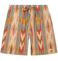 Battenwear Active Lazy Printed Linen And Cotton Blend Drawstring Shorts Tan