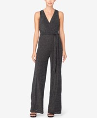 Catherine Malandrino Belted Wide Leg Jumpsuit Black Silver