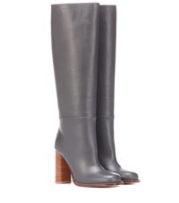 Marni Leather Knee High Boots Grey