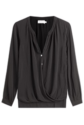 Velvet Draped Blouse Black