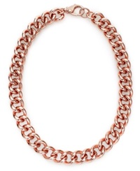 Bronzarte 18K Rose Gold Over Bronze Necklace Curb Chain Necklace