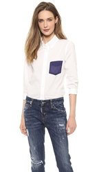 Band Of Outsiders Cropped Sleeve Shirt With Contrast Pocket White