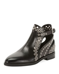 Alaia Leather Booties With Grommets Black