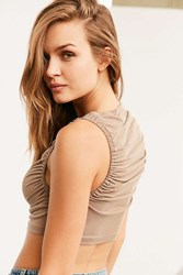 Bdg Ruched Sides Cropped Tank Top Taupe