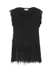 Edun Fringed Edge Sleeveless Top Black
