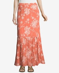 Eci Embroidered Maxi Skirt Salmon