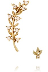 Oscar De La Renta Gold Plated Crystal Ear Cuff And Stud Earring