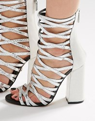 Carvela Goddess Silver Caged Gladiator Heeled Sandals Silver