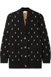 Burberry Intarsia Knit Cardigan Black