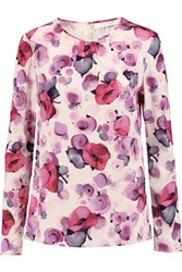 Goat Printed Stretch Crepe Top Pink