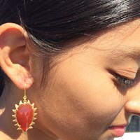 Meghna Jewels Claw Carnelian Earrings Gold Yellow Orange