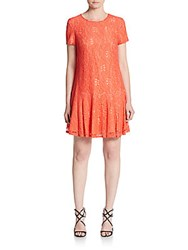 Cynthia Steffe Hayden Floral Lace Drop Waist Dress Coral