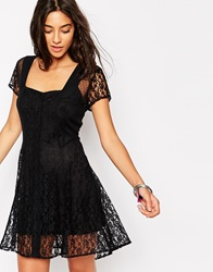 Band Of Gypsies Boho Lace Dress With Tie Back Black