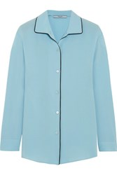 Prada Silk Crepe De Chine Shirt Sky Blue