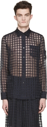 Yang Li Navy And Black Sheer Gingham Shirt