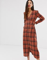 Only Check Maxi Dress With Button Through Detail Brown