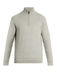 Polo Ralph Lauren Zip Through Wool Blend Sweater Grey