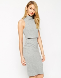 Asos Pencil Dress With Shell Top In Rib Grey
