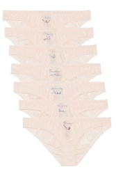 Stella Mccartney Knickers Of The Week Set Of Seven Embroidered Cotton And Silk Blend Briefs Blush
