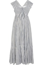 Ulla Johnson Ariane Striped Cotton Gauze Maxi Dress Sky Blue