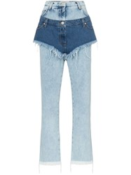 Natasha Zinko High Waist Layered Shorts Jeans Blue