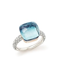 Pomellato Nudo Maxi Ring With Faceted Blue Topaz And Diamonds In 18K White And Rose Gold Blue White