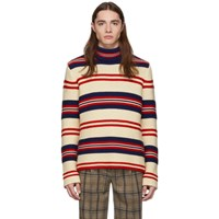 Gucci Off White Striped 'Tricot Pour La Cote D'azur' Turtleneck
