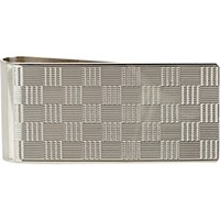 Barneys New York Men's Silver Textured Check Money Clip No Color