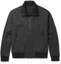 Solid Homme Wool Blend Bomber Jacket Gray