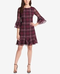 Jessica Howard Plaid Ruffled A Line Dress Regular And Petite Wine