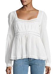 Free People Beaded Lace Trimmed Peasant Top Raspberry