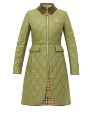 Burberry Ongar Vintage Check Lined Quilted Coat Khaki
