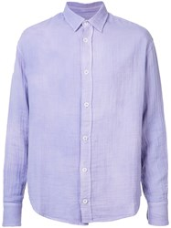 The Elder Statesman Classic Shirt Men Cotton S Pink Purple