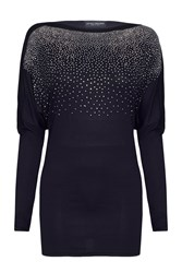 James Lakeland Batwing Top With Silver Studs Black