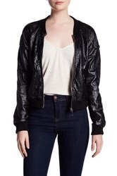 Bnci By Blanc Noir Floral Laser Cut Faux Leather Bomber Jacket Black