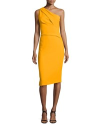 Narciso Rodriguez Pleated One Shoulder Crepe Dress Marigold