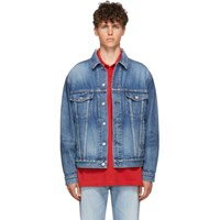 Balenciaga Blue Organic Denim Logo Jacket