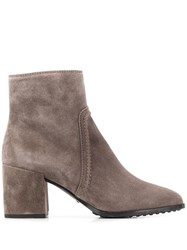 Tod's Block Heel Ankle Boots Grey