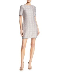 Emporio Armani Short Sleeve Tweed Fringe Trim Dress Pink Pattern