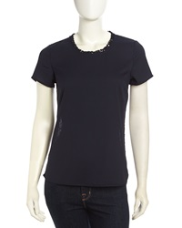 Neiman Marcus Lace Back Charmeuse Blouse Navy