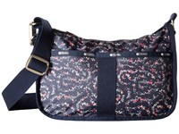 Le Sport Sac Essential Hobo Fairy Floral Blue Hobo Handbags Black