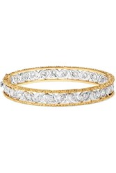 Buccellati Ramage 18 Karat White And Yellow Gold Diamond Bangle