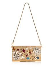 Dolce And Gabbana Crystal Embellished And Gold Plated Clutch