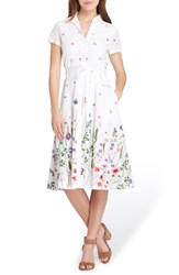 Tahari Floral Embroidered Eyelet Shirtdress White Royal Green