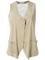 Dolce And Gabbana Vintage Knitted Back Vest Nude And Neutrals