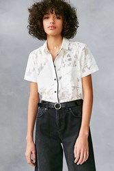 Cooperative Peacock Floral Mesh Button Down Shirt White