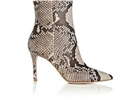 Gianvito Rossi Women's Pointed Toe Python Ankle Boots Dark Grey