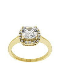 Lord And Taylor Square Cubic Zirconia Ring With Pave Frame Clear Cz
