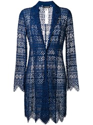 Twin Set Embroidered Long Blazer Blue