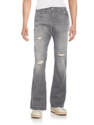 7 For All Mankind Distressed Boot Cut Jeans Axiom Grey